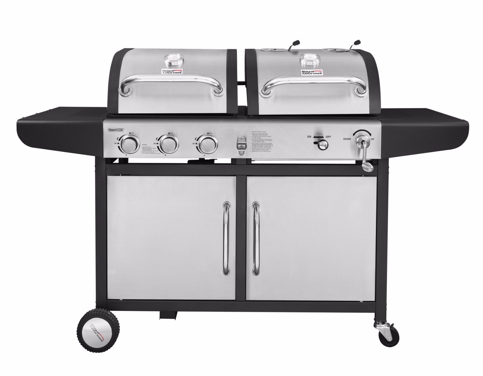 Royal Gourmet ZH3002 3-Burner BBQ Gas Propane Charcoal Grill Combo Dual Fuel 2 Lids Black by Royal Gourmet Corp