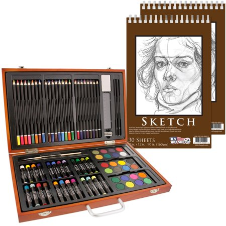 US Art Supply 80 Piece Deluxe Art Creativity Set in Wooden Case with 9