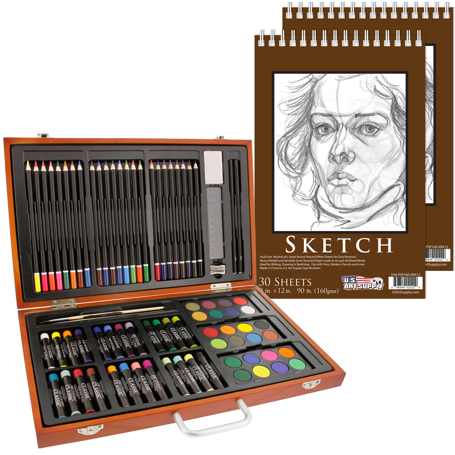 "US Art Supply 80 Piece Deluxe Art Creativity Set in Wooden Case with 9""x12"" 90lb 30 Sheet Sketch Pad"
