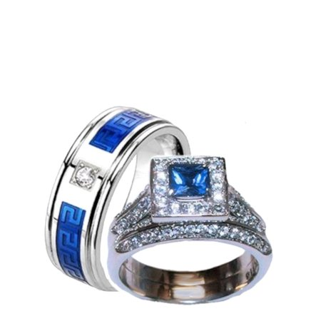 His & Hers Halo Sapphire Blue & Clear Cz Wedding Ring Set Stainless