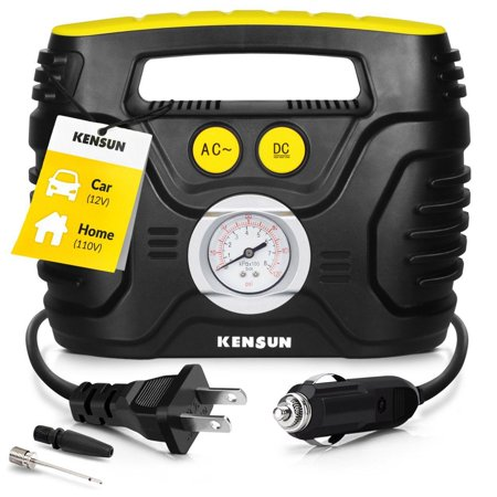 Kensun Portable Air Compressor Pump for Car 12V DC and Home 110V AC Swift Performance Tire Inflator 120 PSI for Car - Bicycle - Motorcycle - Basketball and Others with Analog Pressure Gauge