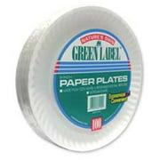 "AJM Green Label Paper Plates, White, 9"", 100 count"