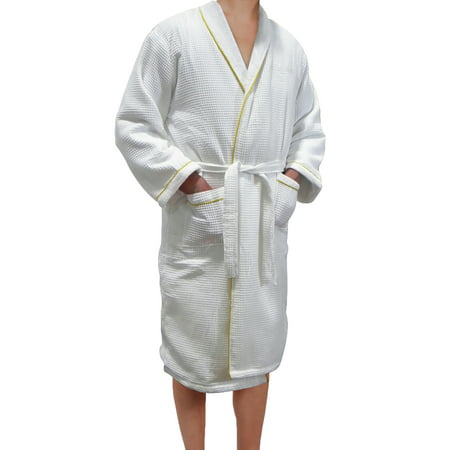 Radiant Saunas European Spa & Bath White Waffle Weave Terry Cloth Robe w/ Gold Embroidered Trim