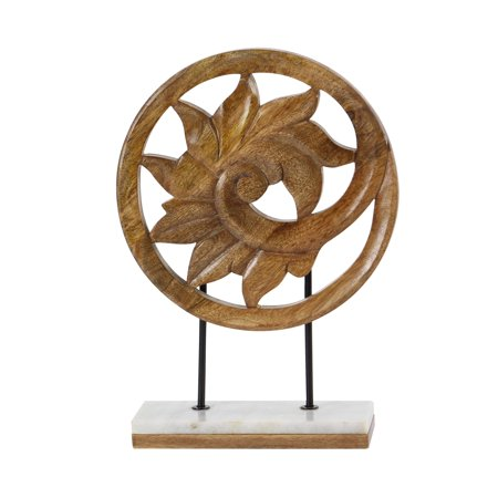 Decmode Rustic 17 X 12 Inch Carved Botanical Scroll Wooden - Carved Sculpture