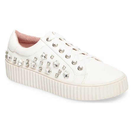 Lauren Lorraine Pam White Embellished Platform Lace Up Rhine Stone Chic Sneakers