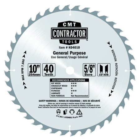 K04010 ITK Contractor General Purpose Saw Blade, 10 x 40 Teeth, 10° ATB with 5/8-Inch bore, For accurate rip/crosscuts. Cut soft/hardwood on.., By CMT
