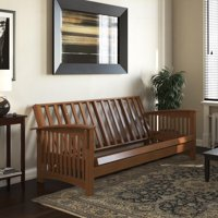 DHP Cameron All Wood Futon Frame, Convertible Sofa Bed, Natural Oak