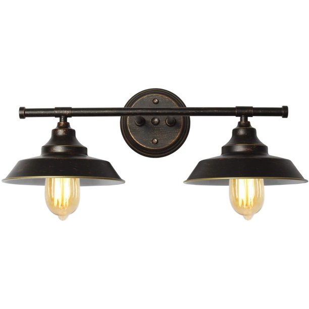 Bathroom Vanity Light 2 Light Wall Sconce Fixture Black Industrial Wall Light For Farmhouse Kitchen Bathroom Vanity Mirror Cabinets Walmart Com Walmart Com