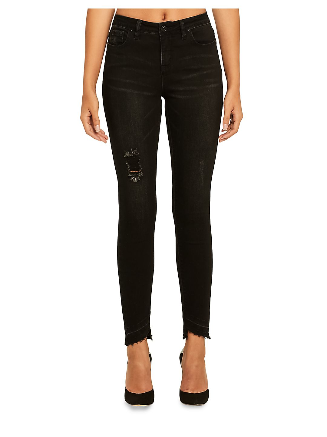 Mid-Rise Whiskered Jeans
