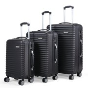 Sandinrayli 3 Pcs Luggage Travel Set Hard Shell Travel Trolley Rolling Suitcase ABS+PC with 4 Wheels, Black