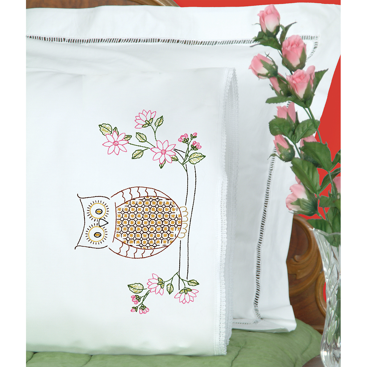 Jack Dempsey Stamped Pillowcases with White Lace Edge, Chicken Scratch Owl, 2-Pack Multi-Colored