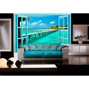 Startonight Mural Wall Art Window to Paradise Illuminated Beach Wallpaper Photo 5 Stars Gift Large 10 x 28,82 ?? x 50,4 ?? Total 8?4?x 12'