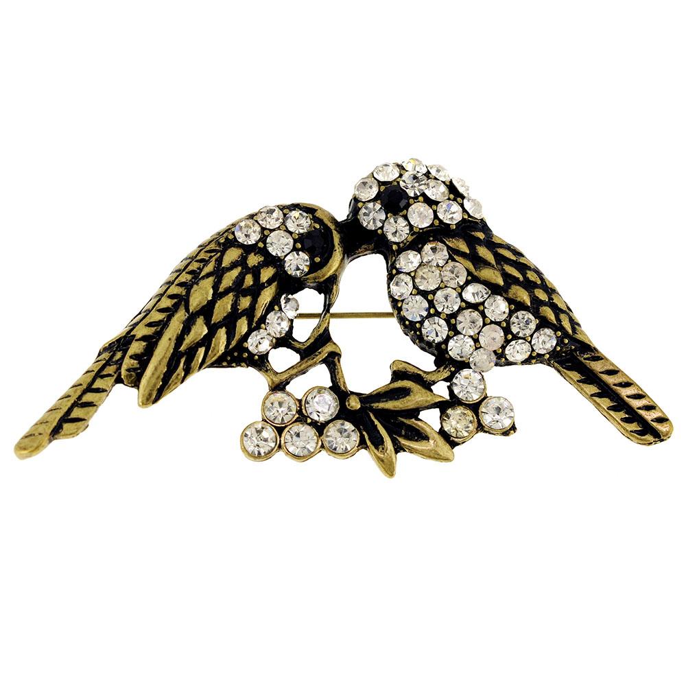 66ce87b2c Fantasyard - Vintage Style Couple Sparrows Crystal Bird Pin Brooch -  Walmart.com