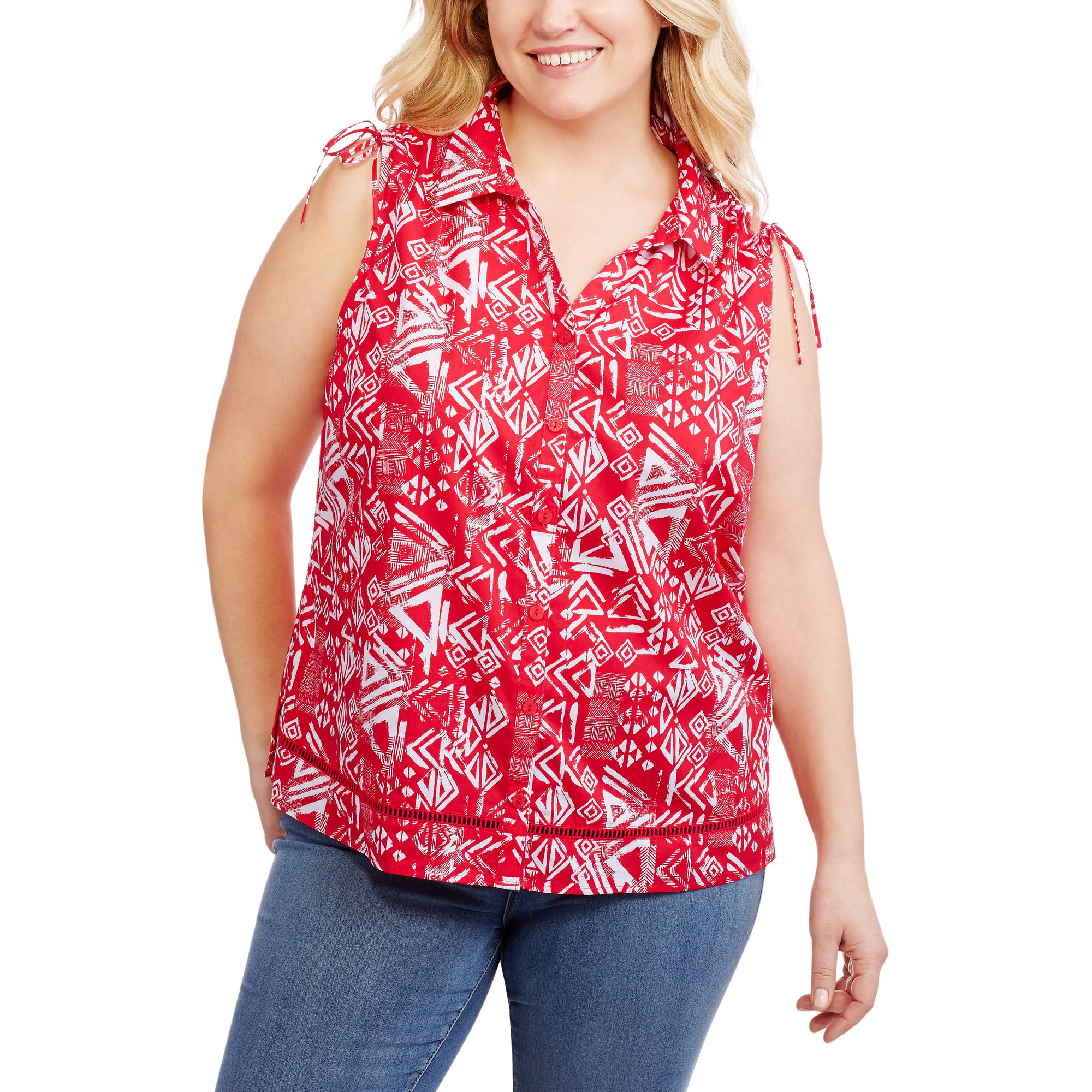Erika Women's Plus Button-Down Sleeveless Shirt With Shoulder Shirring