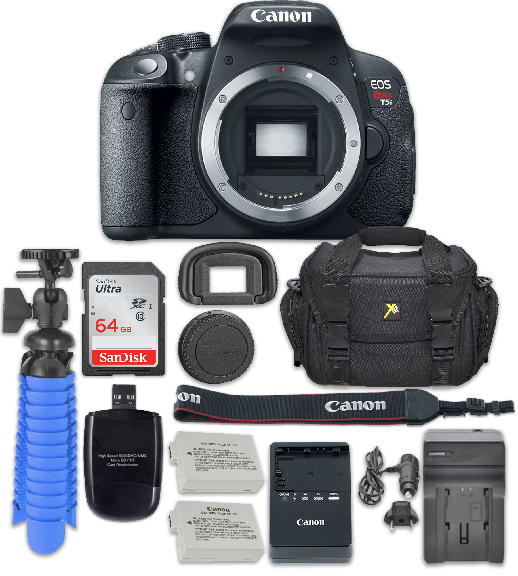 Canon EOS Rebel T5i Digital SLR Camera(Body Only) + Accessory Kit