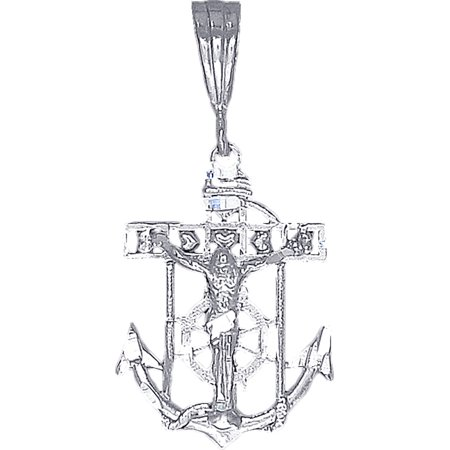 Sterling Silver Anchor Cross with Jesus and Hearts Diamond Cut Finish with Figaro Chain