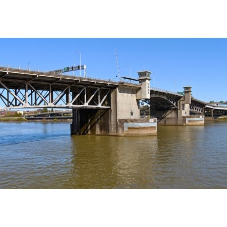 Foot Span Bridge - Morrison Bridge spans the Willamette River Portland Oregon USA Poster Print