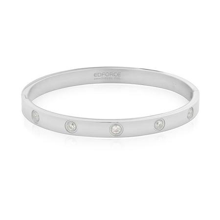 Edforce Stainless Steel Bracelet Women's Relationship Set in Stone Gold Love Bangle Bracelet Hinged CZ Cubic Zirconia, 2.1 in x 2.3 -