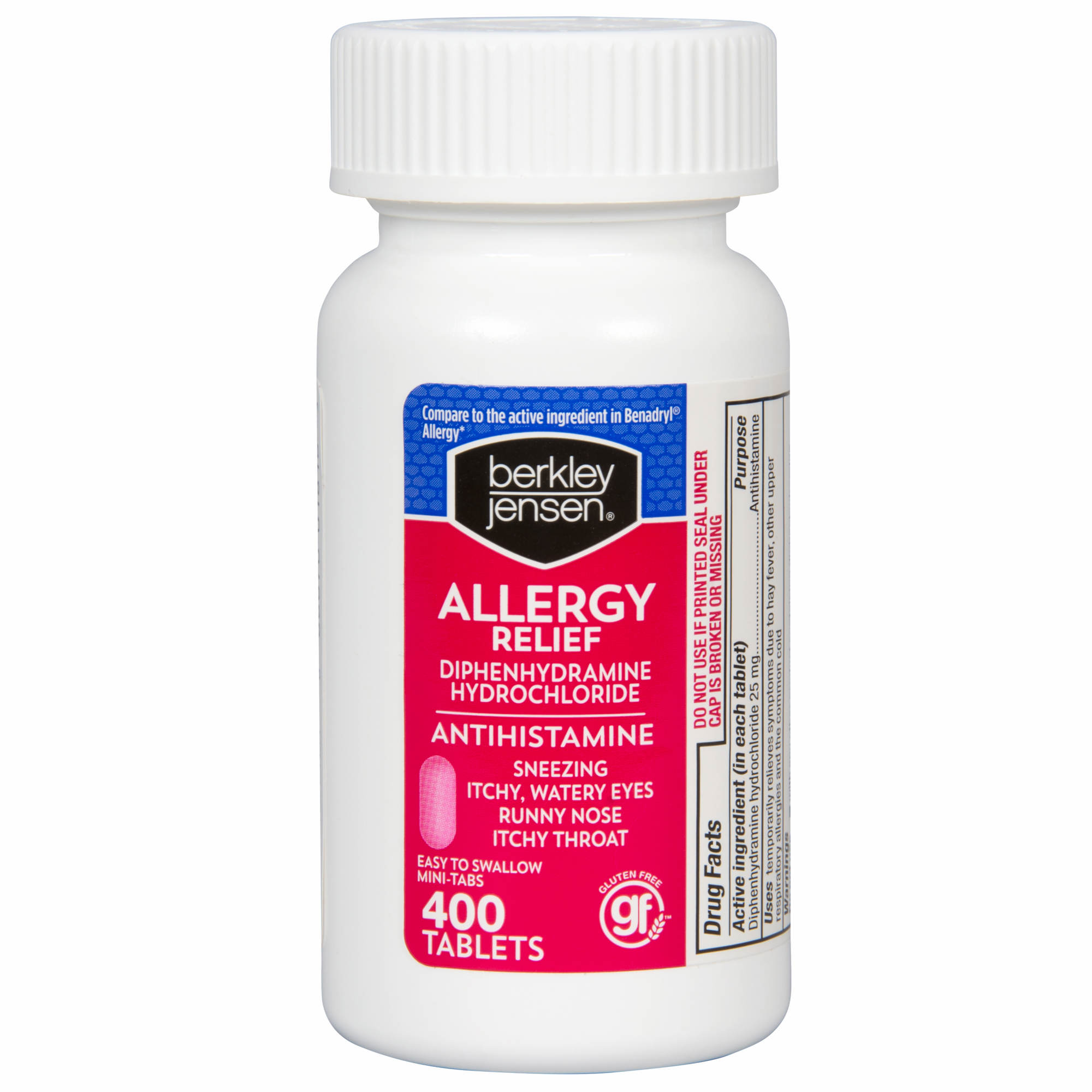 Berkley Jensen 25mg Diphenhydramine Hydrochloride Antihistamine Tablets, 400 ct. - image 2 of 2