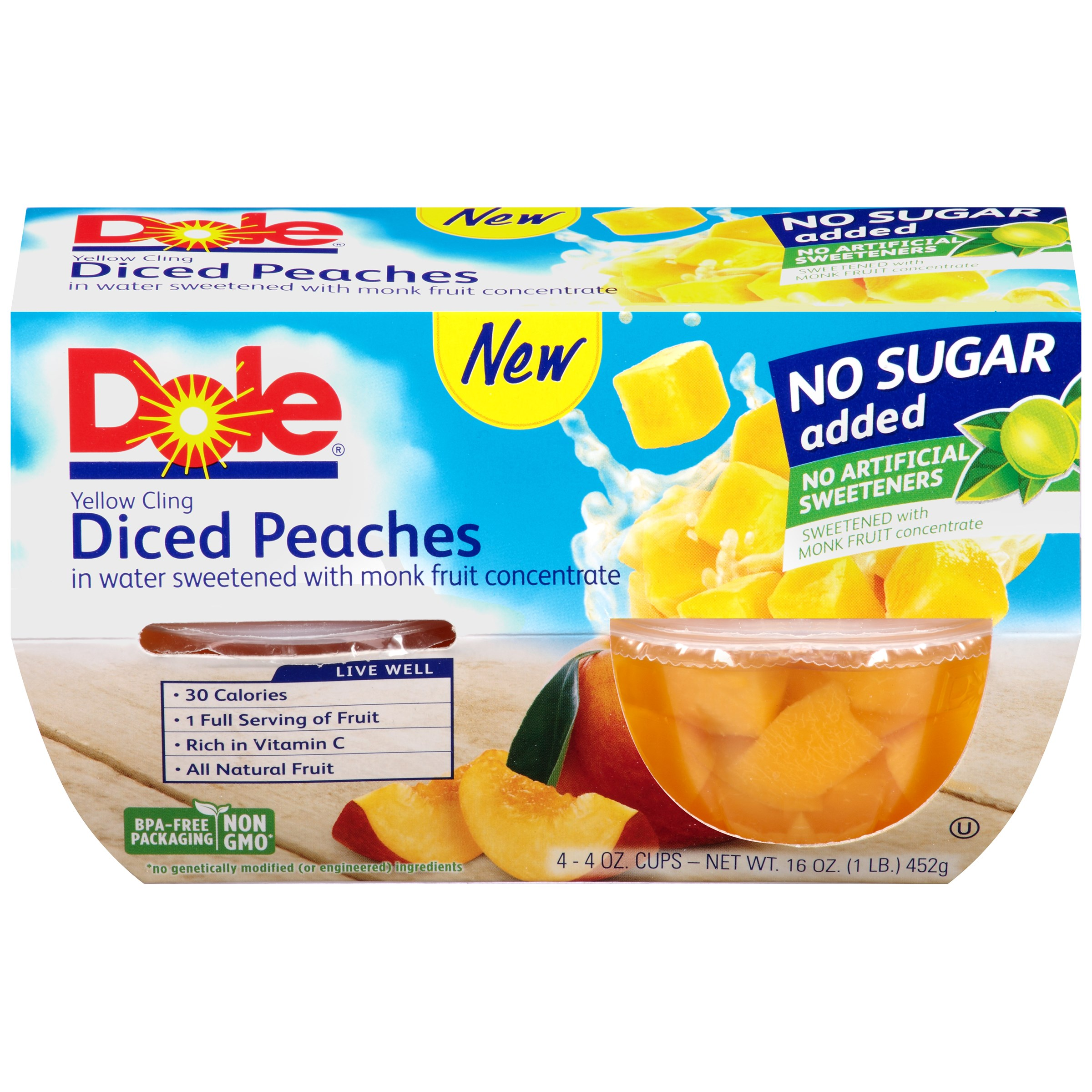 Dole Fruit Bowls Diced Peaches, 16 OZ (Pack of 6)