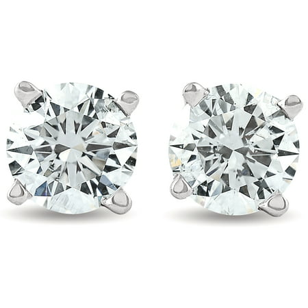 1 1/4 ct Diamond Studs Womens Solitaire Earrings 14K White