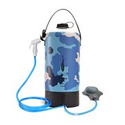 AFISHTOUR Camping Shower Bag, 10L/2.2 Gallons Waterproof Portable Outdoor Shower Sports Water Bag for Camping Traveling, Hiking, Beach Trips with Foot Pump and Shower Head Hose