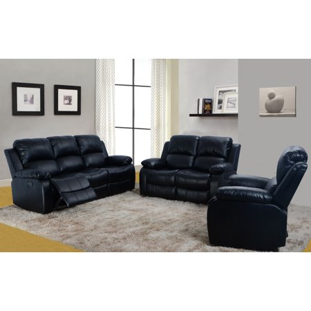 3 Piece Bonded Faux Leather Motion Recliner Sofa, Loveseat, Chair Set -  Black (Total 5 Recliners)