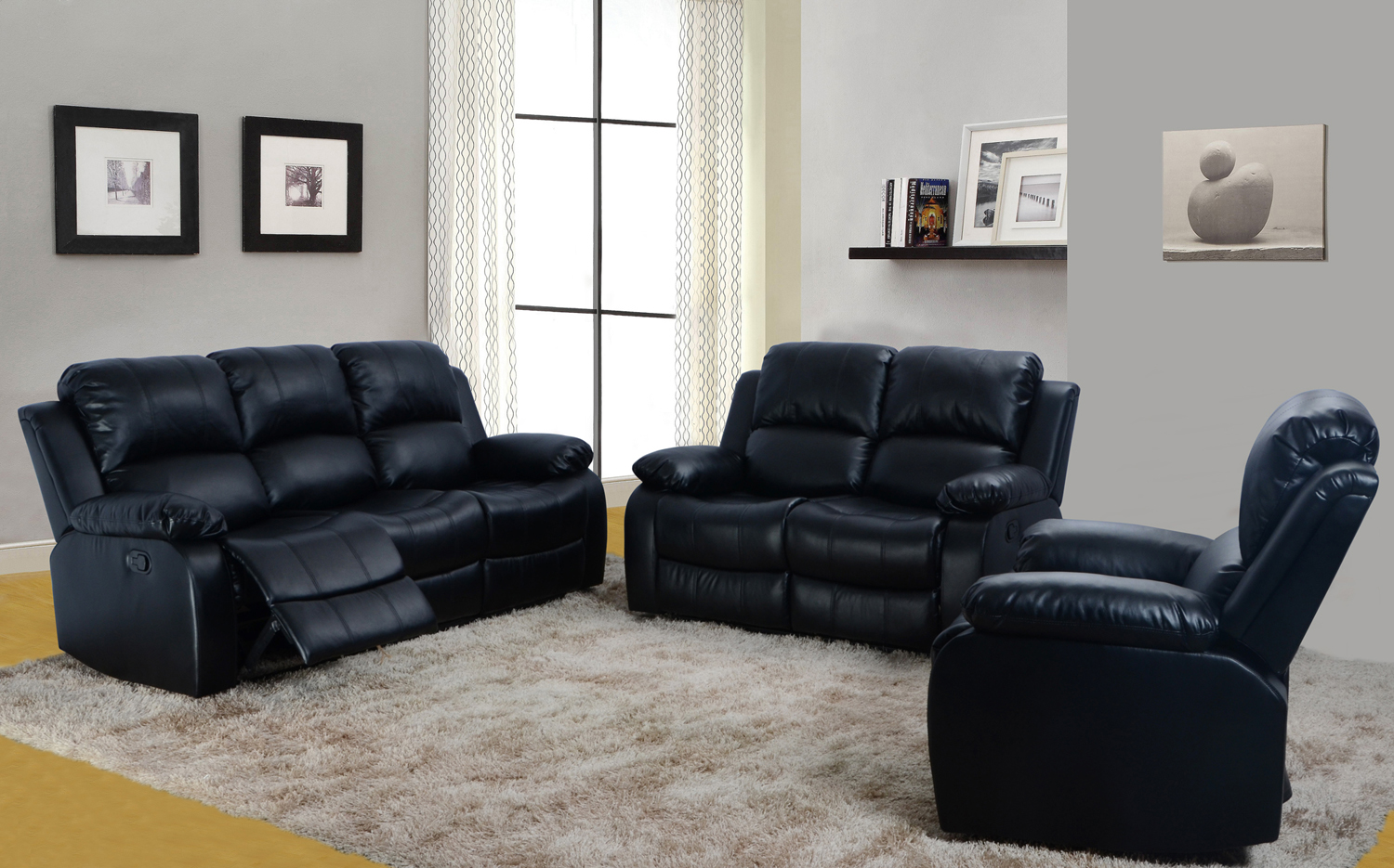 Delicieux 3 Piece Bonded Faux Leather Motion Recliner Sofa, Loveseat, Chair Set    Black (