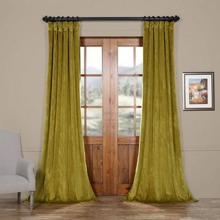 Velvet Drapery - Pea Green 96 x 50 In. Plush Velvet Curtain Single Panel