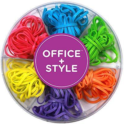 office+style colored rubber bands with close-lid storage container, 120 pieces - Colored Rubber Bands