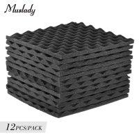 Muslady Studio Acoustic Foams Panels Sound Insulation Foam 30 * 30cm/ 12 * 12in, Pack of 12pcs