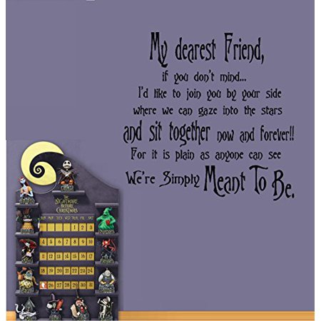 Decal ~ Dear Friend, We're Simply Meant to Be #2: Nightmare before Christmas Theme ~ Wall or Window Decal (Black) 22