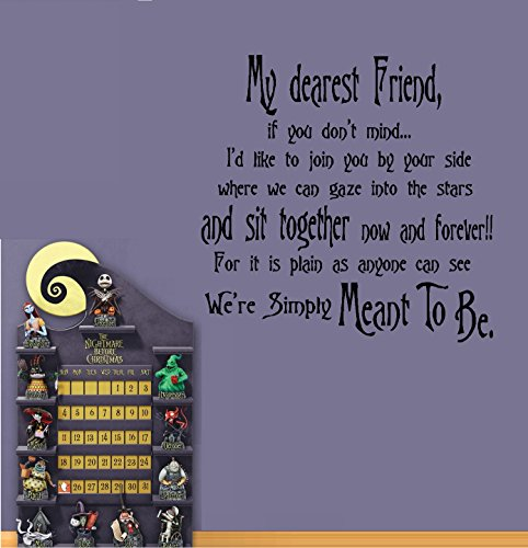 "Dear Friend, We're Simply Meant to Be #2: Nightmare before Christmas Theme ~ Wall or Window Decal 20"" x 20""(Black)"