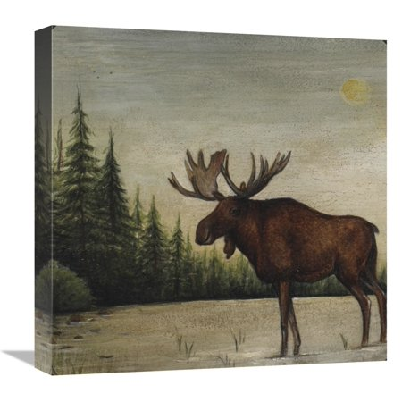 - Global Gallery's 'North Woods Moose II' by David Carter Brown Stretched Canvas Wall Art