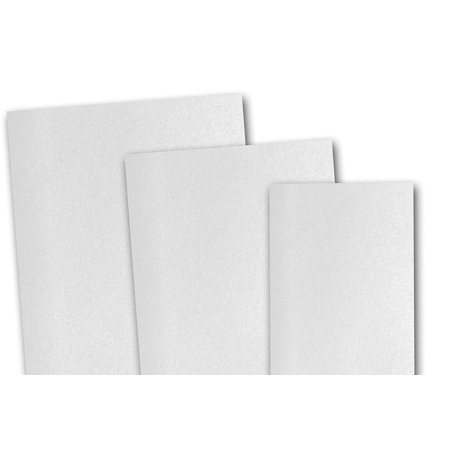 Blank Invitations - Blank Metallic Crystal White 5x7 Flat Card Invitations - 100 Pack