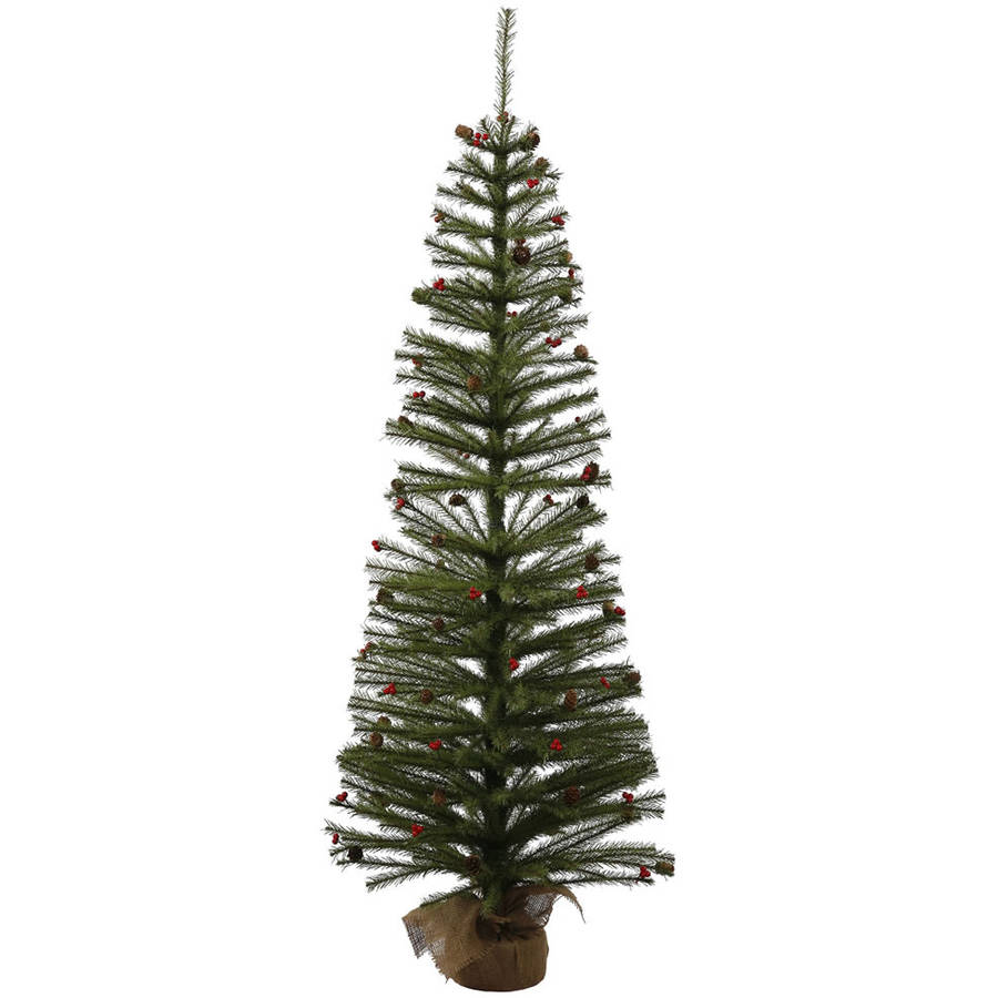 Vickerman Unlit 5' Fresh Pistol Berry Pine Artificial Christmas Tree