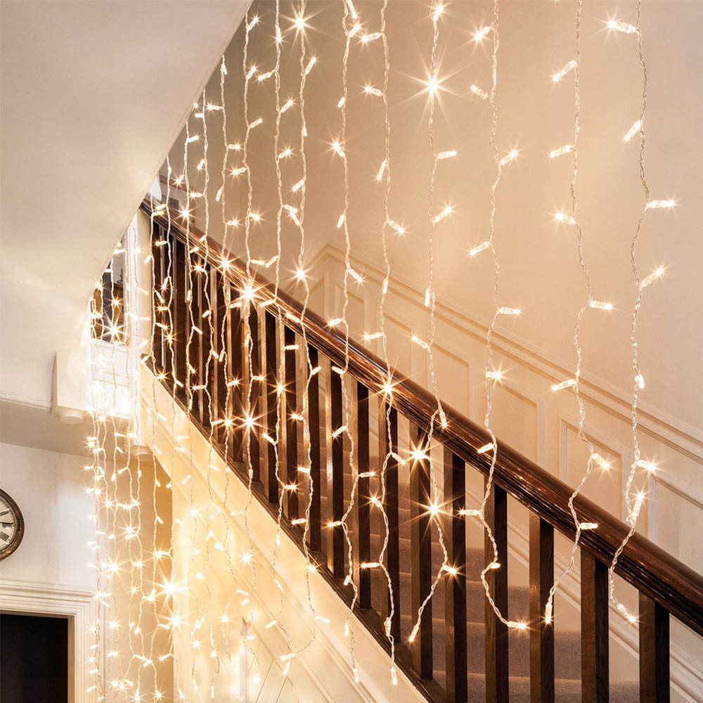 TorchStar 9.8ft X 9.8ft LED Curtain Lights, Starry Christmas String Light,  Indoor