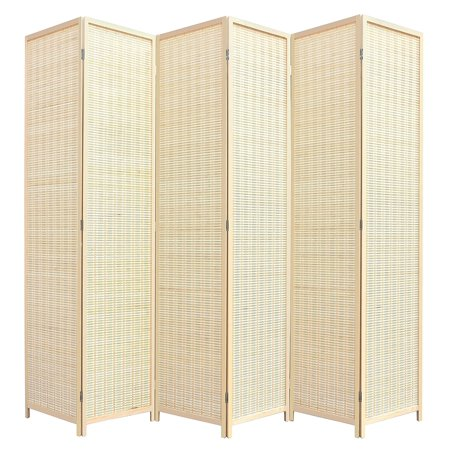 RHF 6 ft. Tall-Extra Wide, Double Hinged, bamboo room divider, 6 Panel Room Divider/Screen, Room Dividers and Folding Privacy Screens 6 Panel, Freestanding Room Dividers-Bamboo, 6 Panel ()