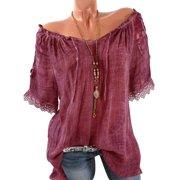 Casual  Cold Shoulder Tops For Women Semitransparent Lace Crochet Short Sleeve Vintage T-Shirt Off Shoulder Pullover Jumper