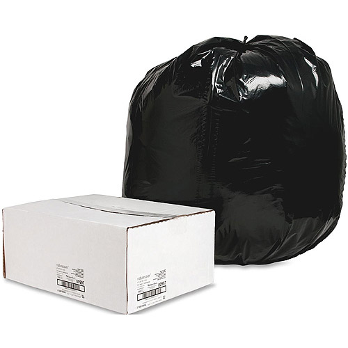 NatureSaver Low Density Heavy Duty Recycled Can Liners, Black, 60 gal, 100 count