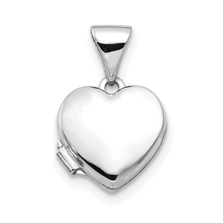 14k White Gold Heart Shaped Photo Pendant Charm Locket Chain Necklace That Holds Pictures Gifts For Women For Her (Gold Picture Locket)