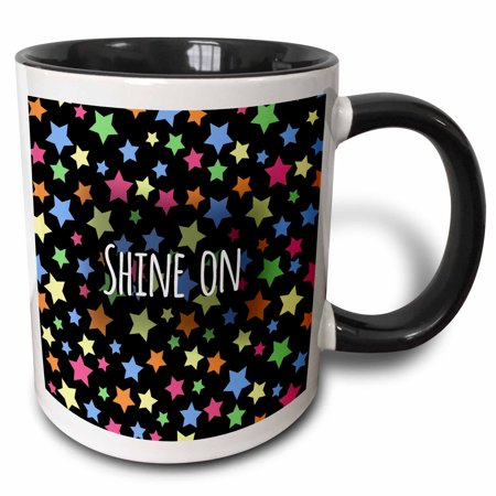3dRose Shine on - inspiring sayings colorful stars - motivational words - Two Tone Black Mug, 11-ounce](One Word Halloween Sayings)