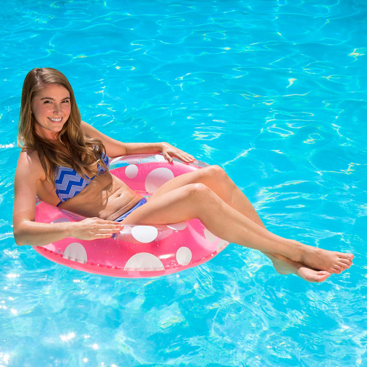 """Swim Central 36"""" Inflatable 1-Person Swimming Pool Inner Tube - Pink/White"""