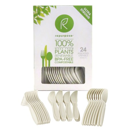 Repurpose 100% Compostable Plant-Based High Heat Utensils Combo Set, 24 Count (Pack - 20) PACK - (100% Heat Set)