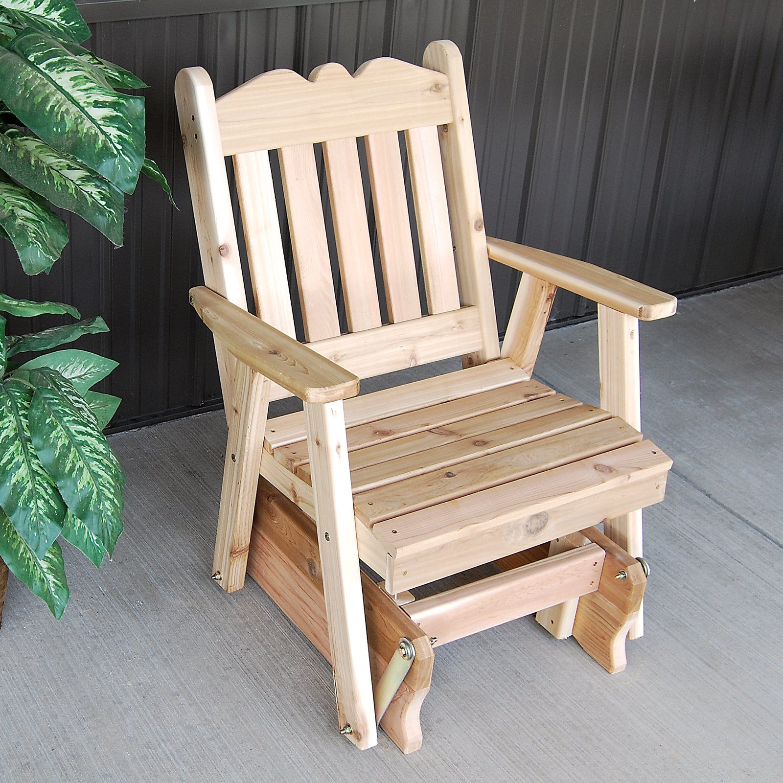 A & L Furniture Western Red Cedar Royal English 2 ft. Outdoor Glider Chair