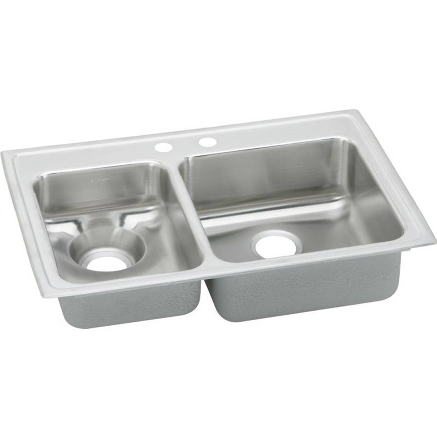 Elkay LWR3322LMR2 Gourmet Lustertone Stainless Steel Double Bowl Top Mount Sink with MR2 Faucet Holes