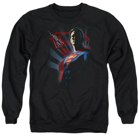 Superman Super Deco   Adult Crewneck Sweatshirt   Black   3X