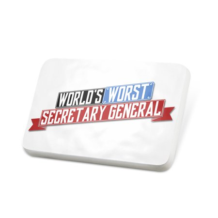 Secretary Pin (Porcelein Pin Funny Worlds worst Secretary General Lapel Badge – NEONBLOND )