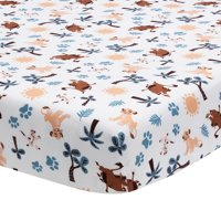 Disney 100% Polyester Fitted Crib Sheets, Baby Lion King Adventure, White