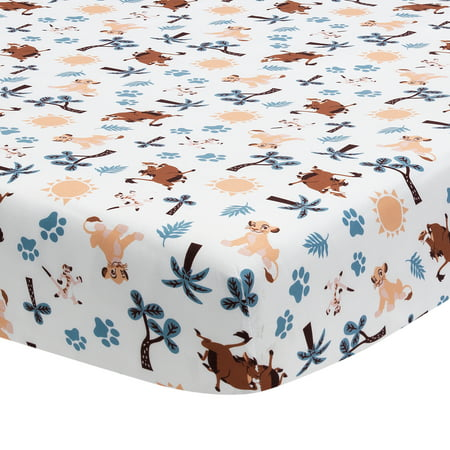 Lamb Toddler Crib (Disney Baby Lion King Adventure White Baby Fitted Crib Sheet by Lambs & Ivy)